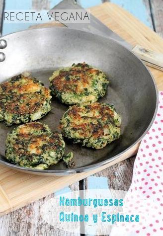 Hamburguesas de Quinoa y Espinaca Receta Vegana